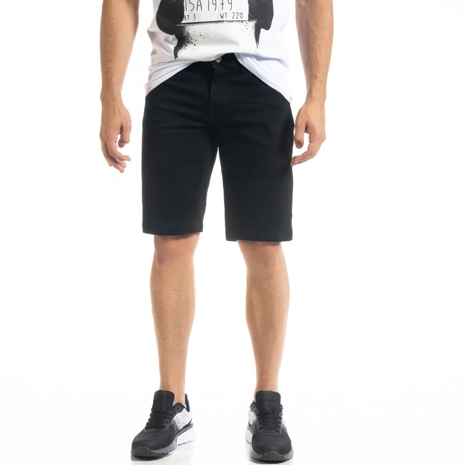 Basic Slim fit мъжки черни къси дънки it080520-58