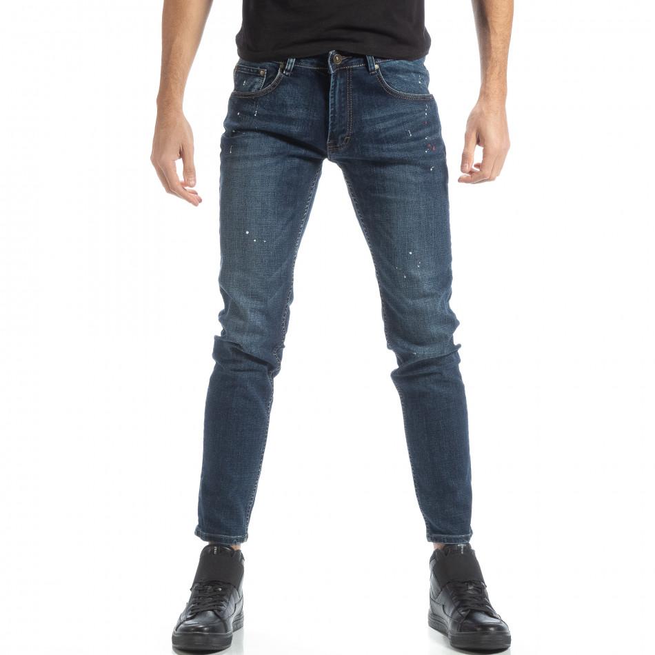 Мъжки сини дънки с пръски боя it051218-3