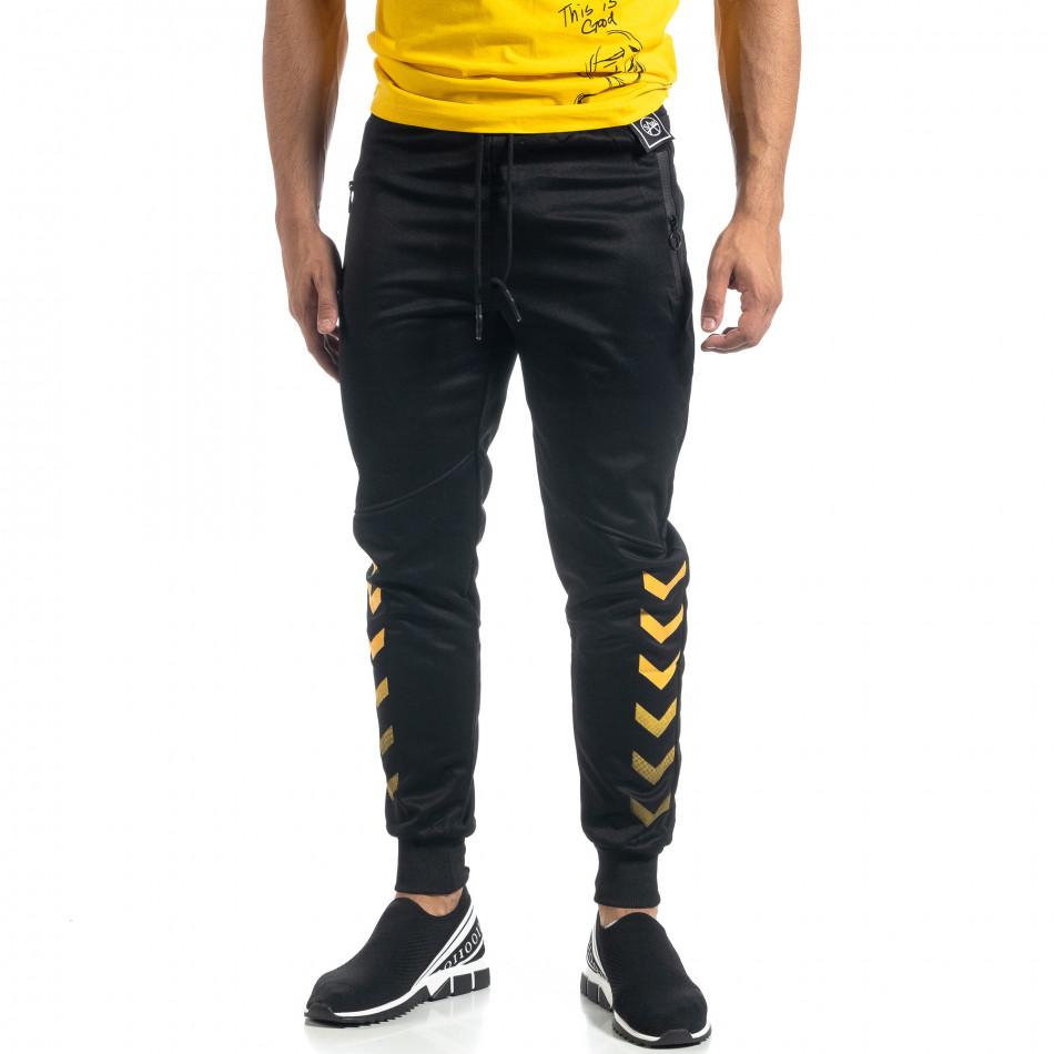 Мъжки черен Jogger жълти акценти it041019-7