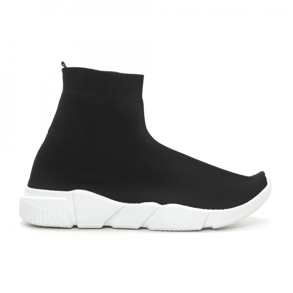 Мъжки черни slip-on маратонки чорап it150319-13