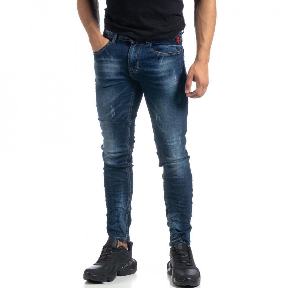 Изтъркани мъжки сини дънки с прокъсвания Slim fit it041019-29