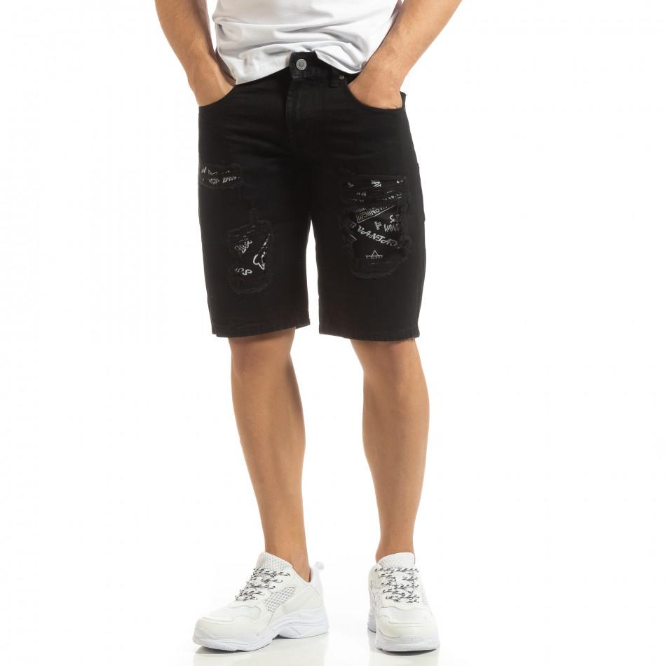 Черни мъжки дънкови бермуди с принт кръпки it090519-48