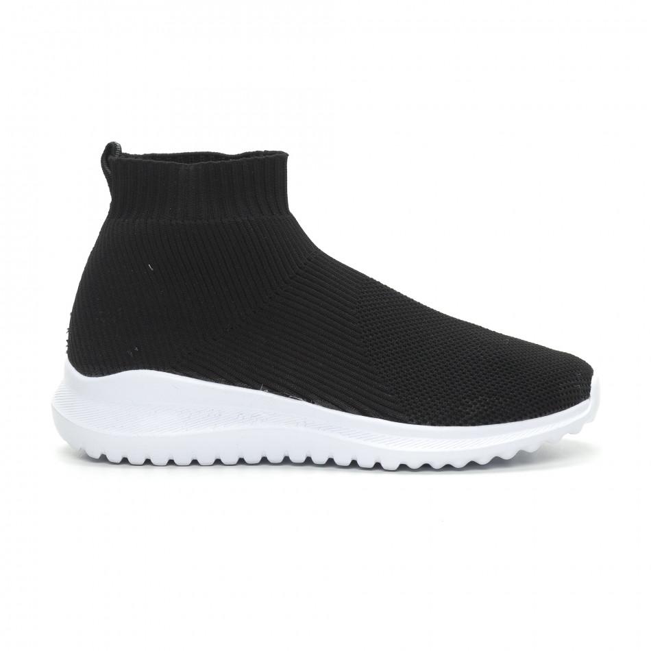 Мъжки черни кецове чорап с грайфер it150319-8