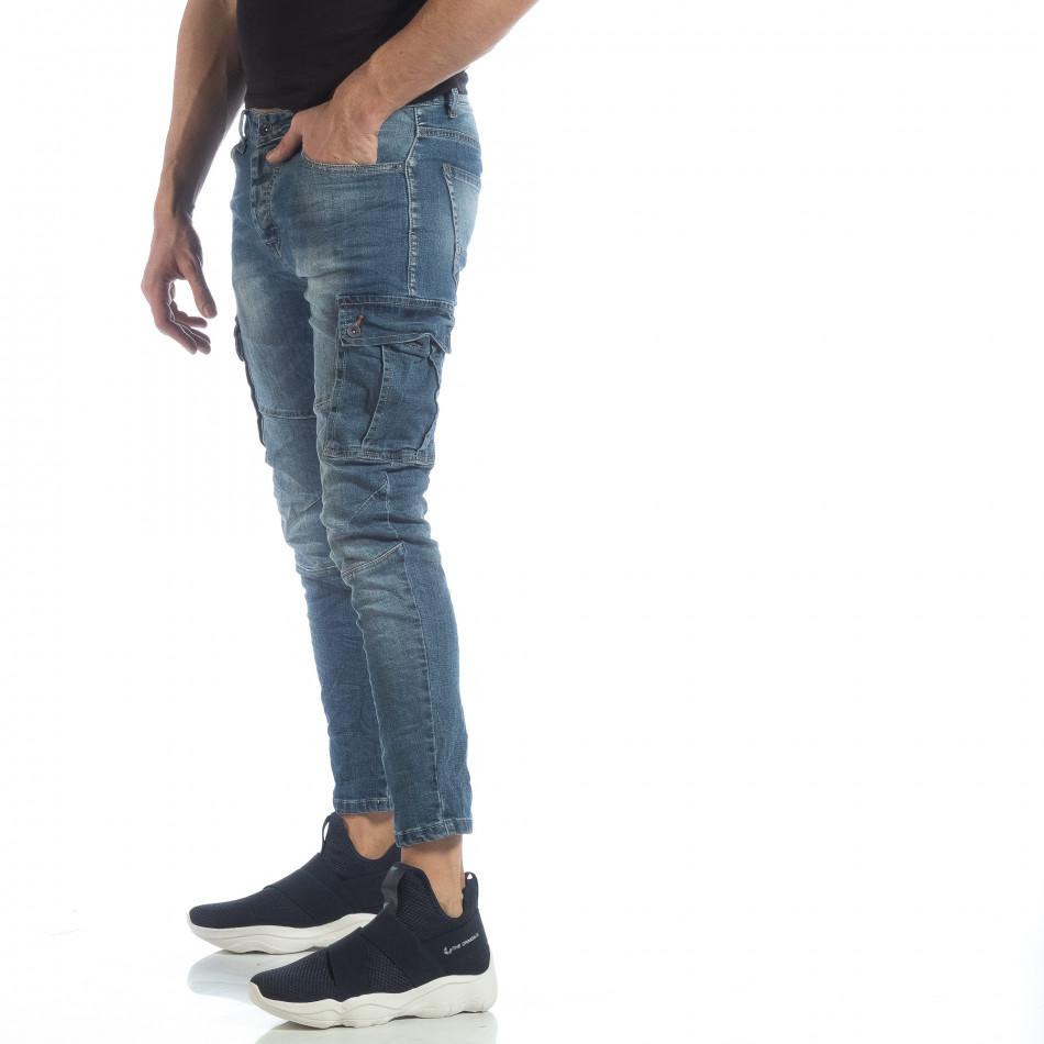 Мъжки сини намачкани карго дънки it040219-20