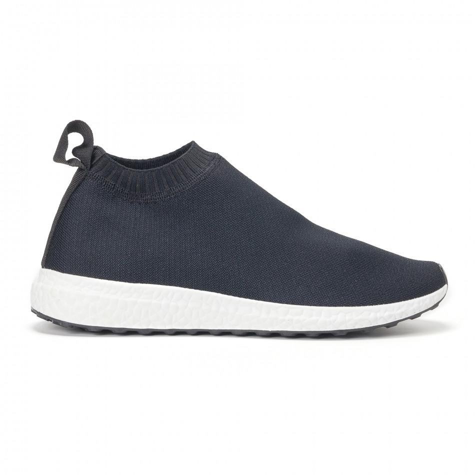 Мъжки slip-on маратонки тип чорап в черно it130819-1