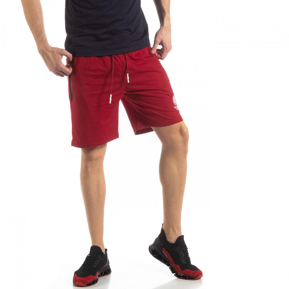 Мъжки спортни шорти в тъмно червено it210319-71