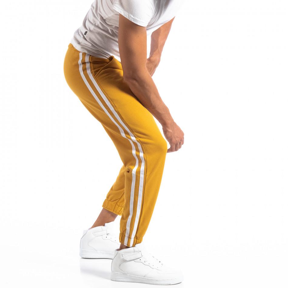 Мъжки жълт Jogger с бели кантове it250918-50