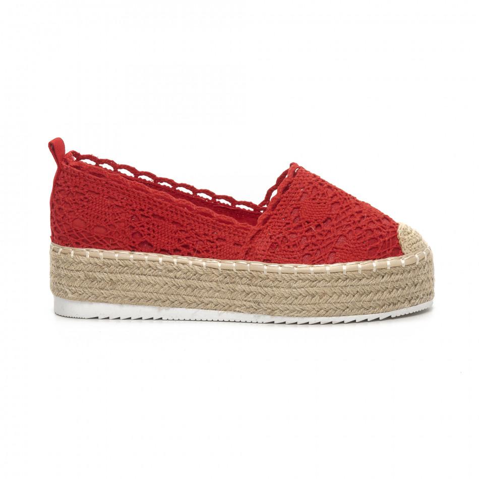 Червени плетени дамски еспадрили Rustic style it240419-38