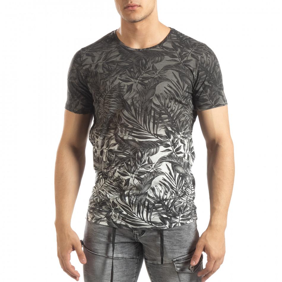 Мъжка сива тениска с преливане Leaves мотив it150419-108
