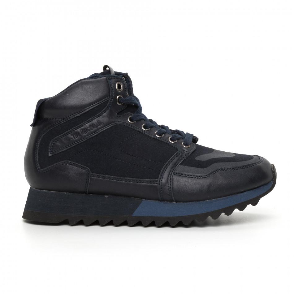 Мъжки високи спортни обувки в синьо it130819-24