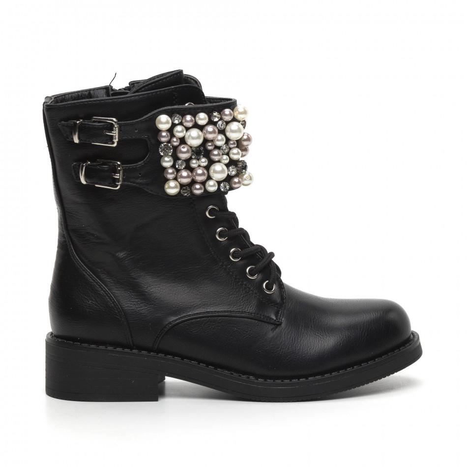 Дамски черни боти с перли и камъни it260919-70