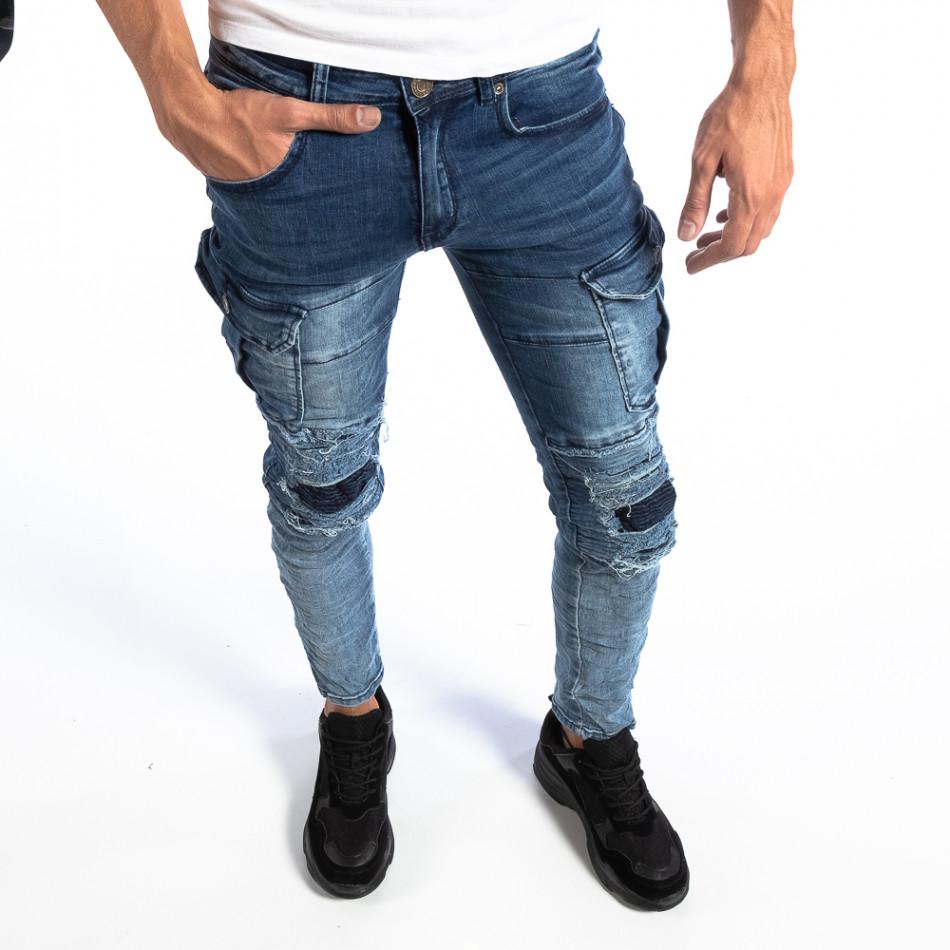Мъжки сини Slim Cargo дънки с кръпки it250918-17