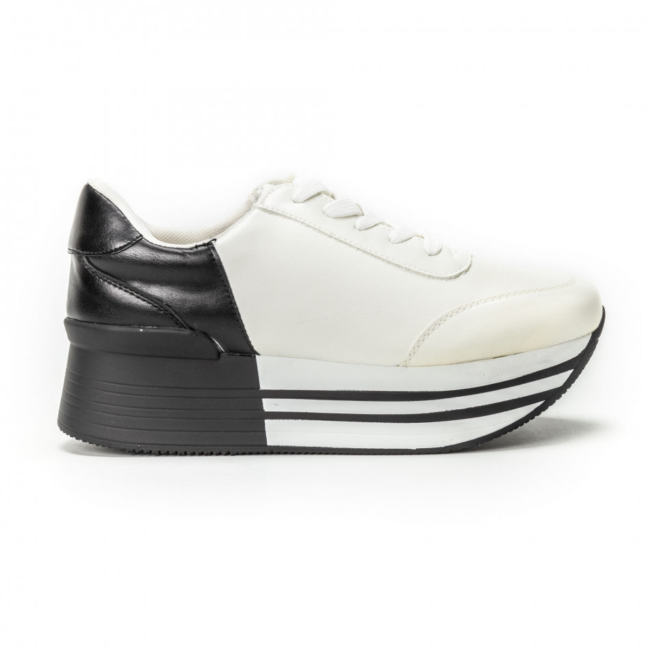 Черно-бели дамски маратонки на платформа it150818-72