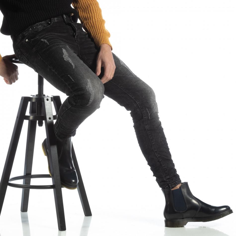 Черни мъжки дънки Slim fit с прокъсвания it051218-6