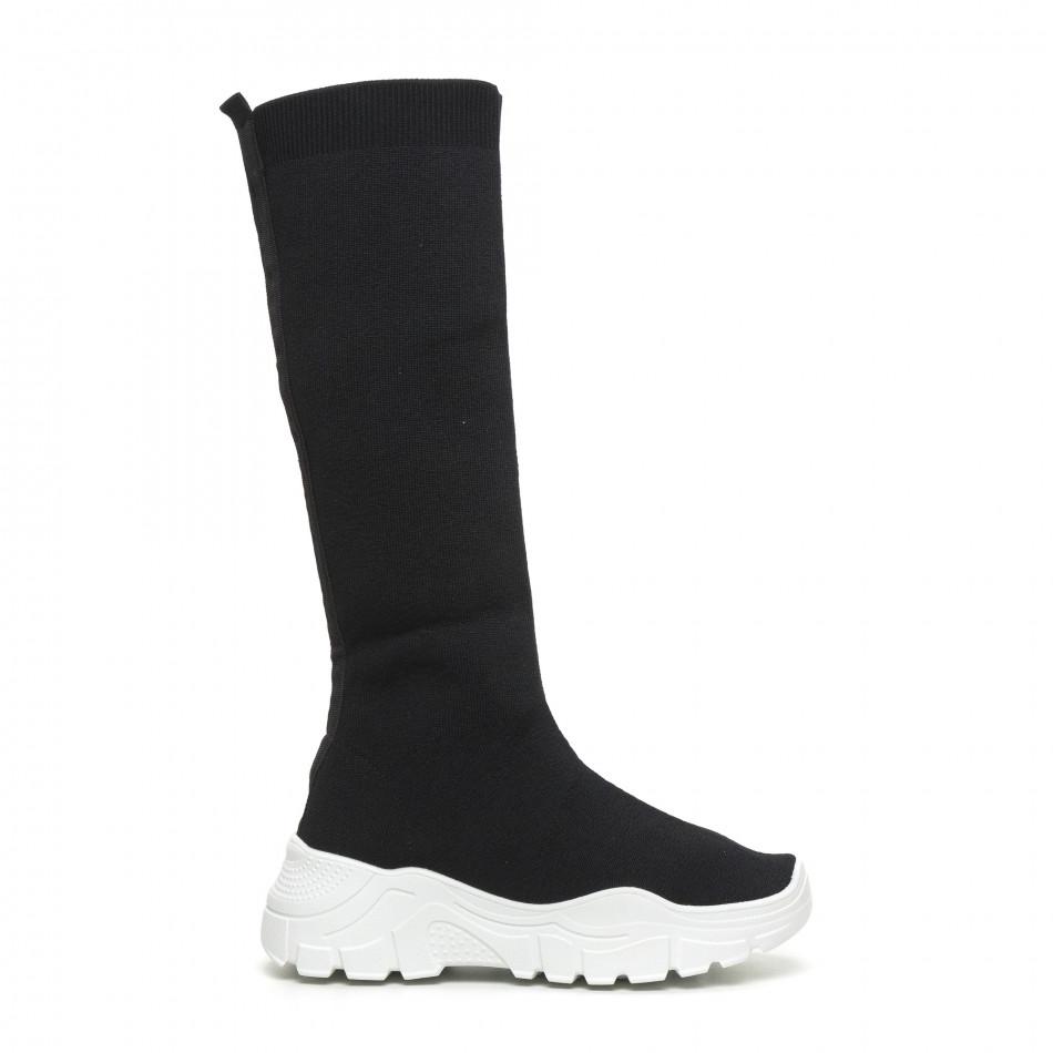 Дамски черни ботуши тип чорап бяла подметка it260919-66