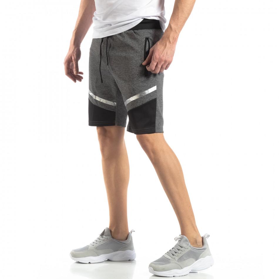 Мъжки шорти в сиво сребрист акцент it210319-68