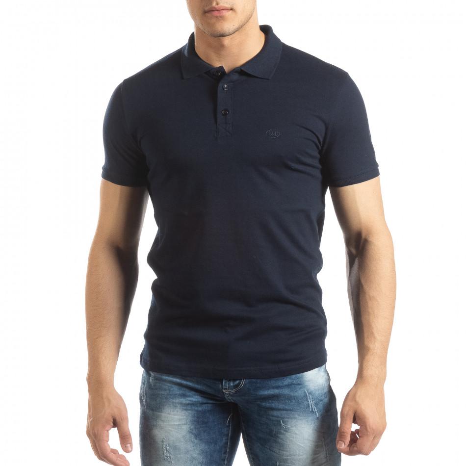 Фина мъжка тениска Polo shirt в тъмно синьо it150419-96