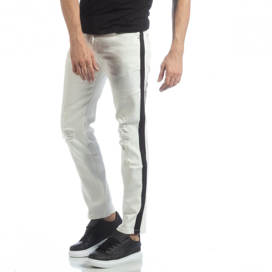 Ултрамодерни мъжки дънки в бяло с кантове it040219-26