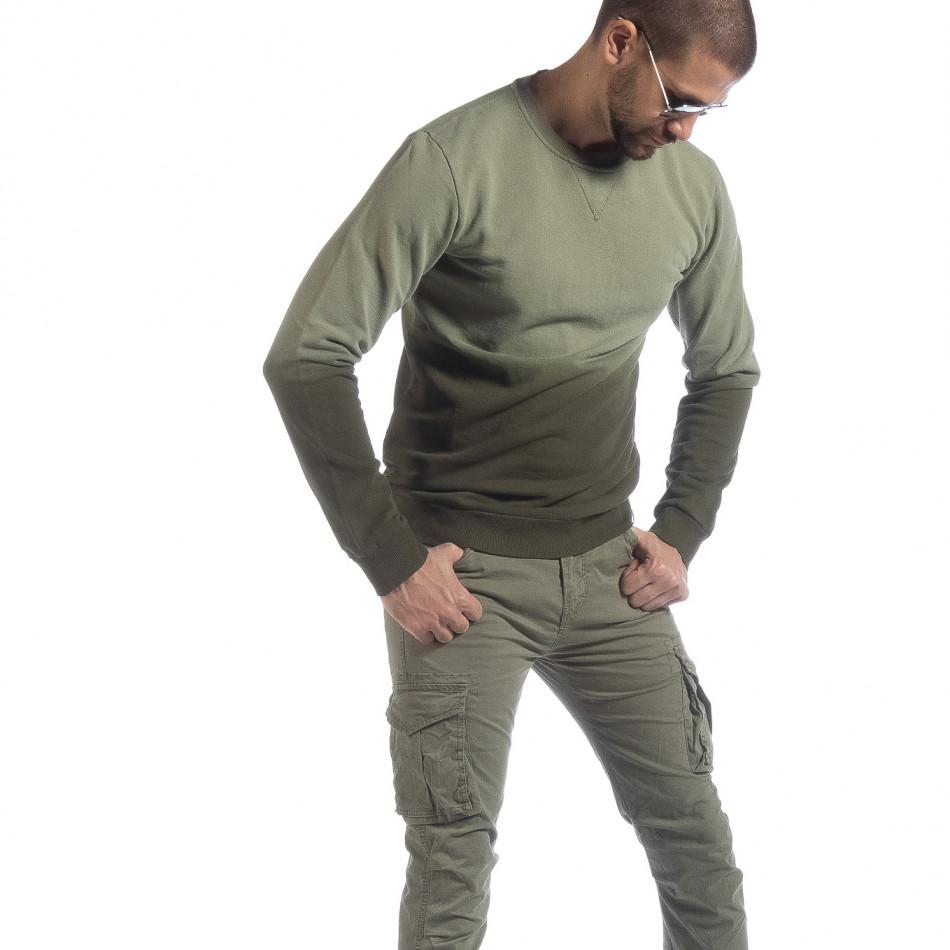 Мъжка зелена ватирана блуза с преливане it040219-91