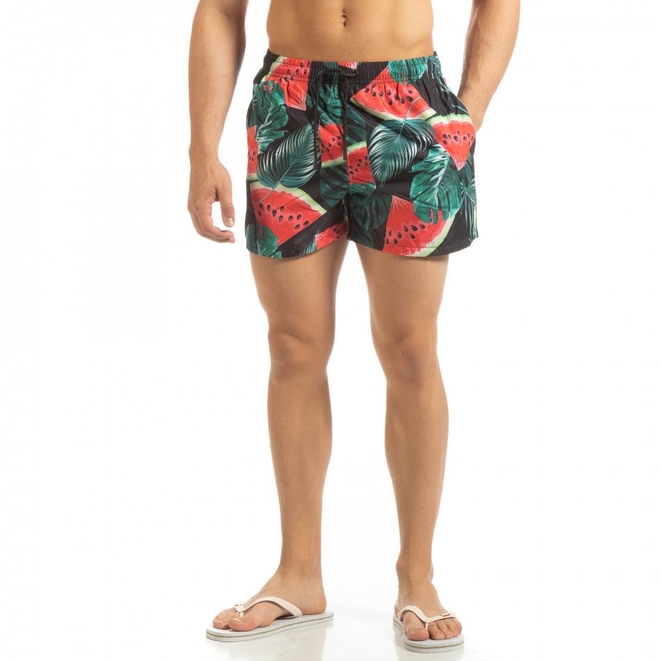 Мъжки черен бански Watermelon мотив it090519-93
