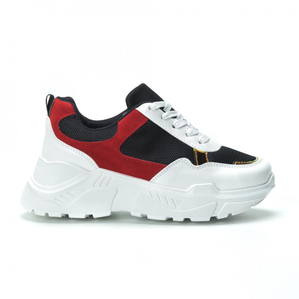 Червено-черни дамски маратонки с обемна подметка it250119-39