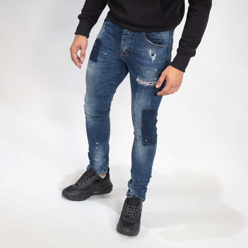Мъжки сини дънки с пръски боя Slim fit it071119-15