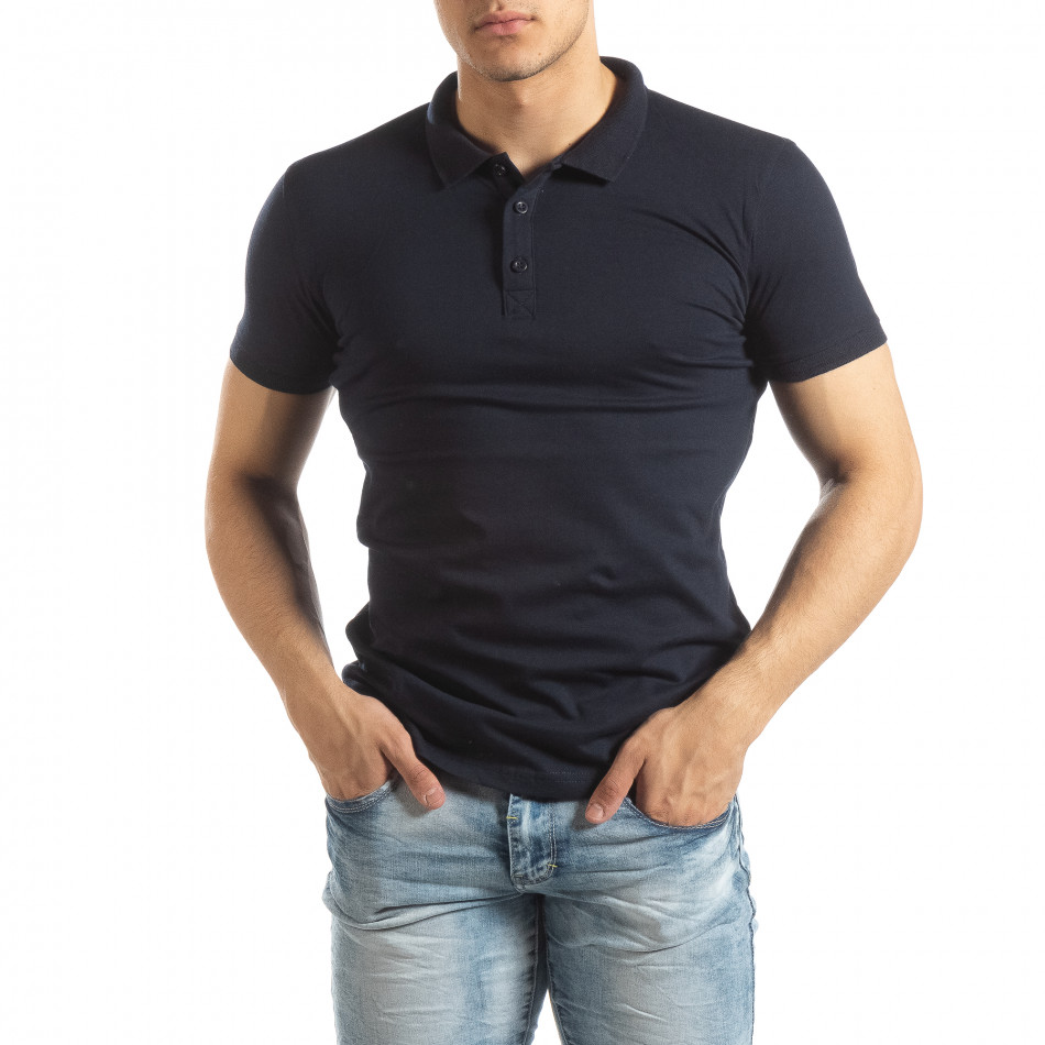 Мъжки Basic Polo shirt в тъмно синьо it150419-61