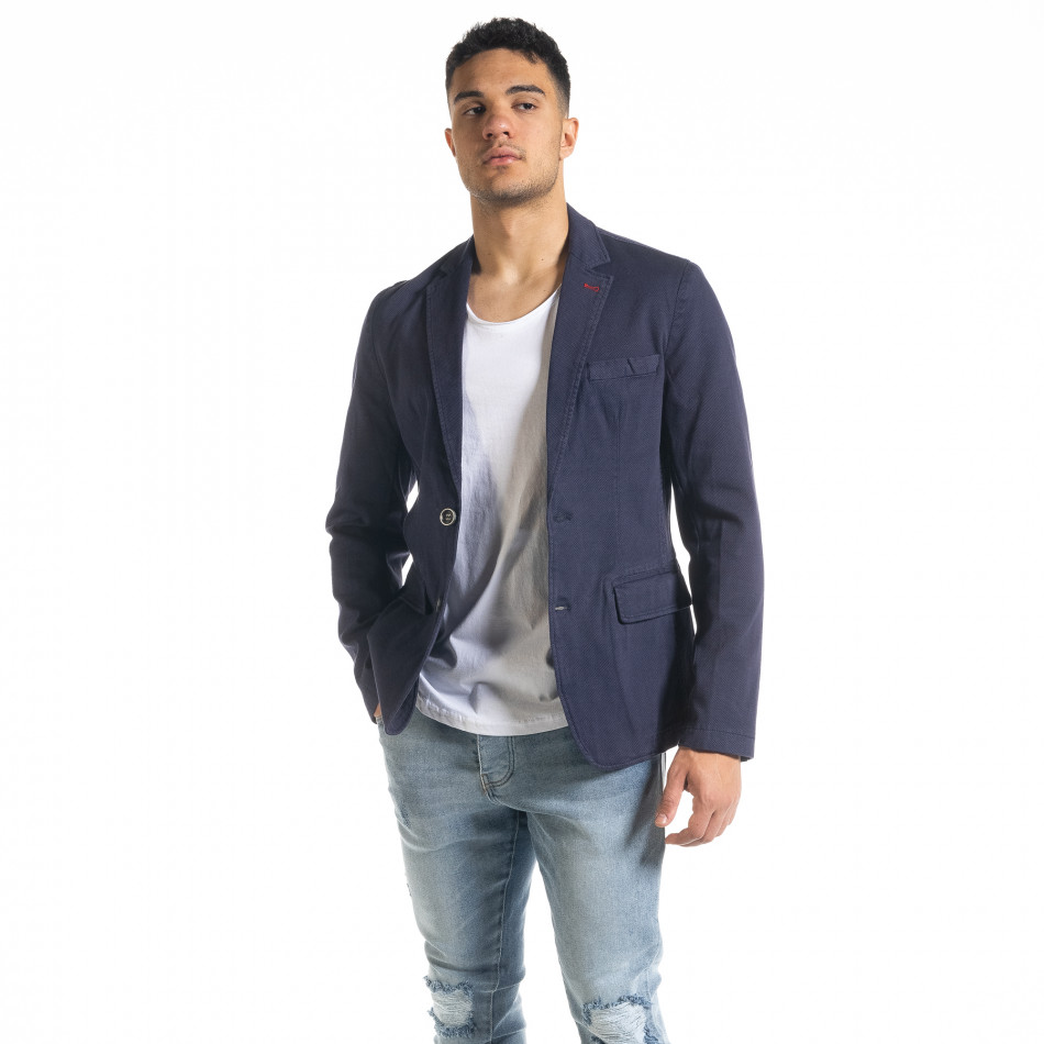 Slim fit синьо сако от памучно пике it240420-4