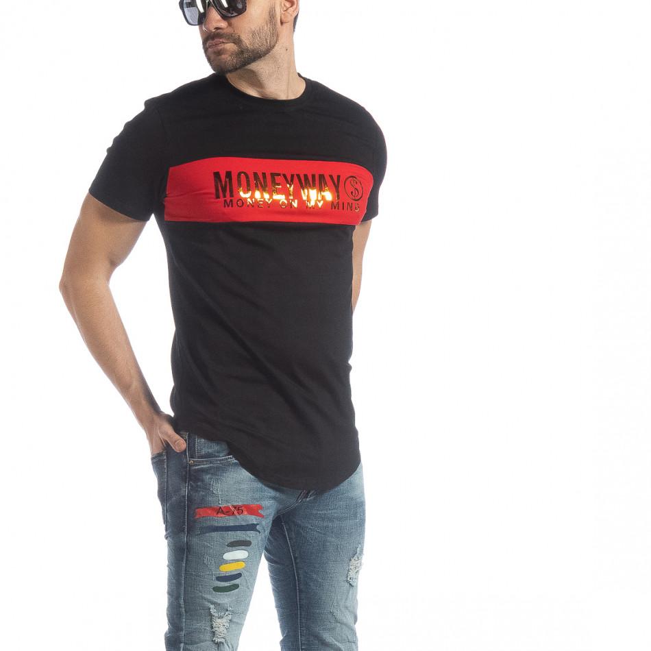 Мъжка черна тениска Money Way it040219-117