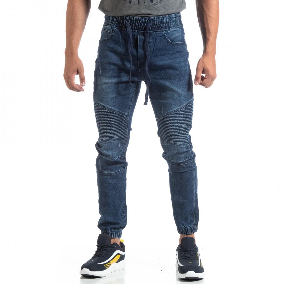 Мъжки сини Jogger Jeans в рокерски стил it170819-60