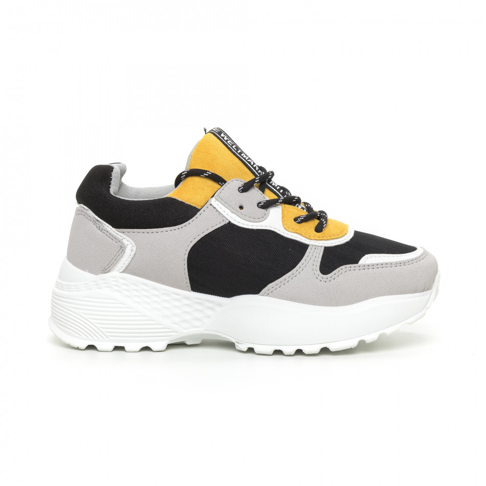Олекотени дамски маратонки в сиво и жълто it130819-62