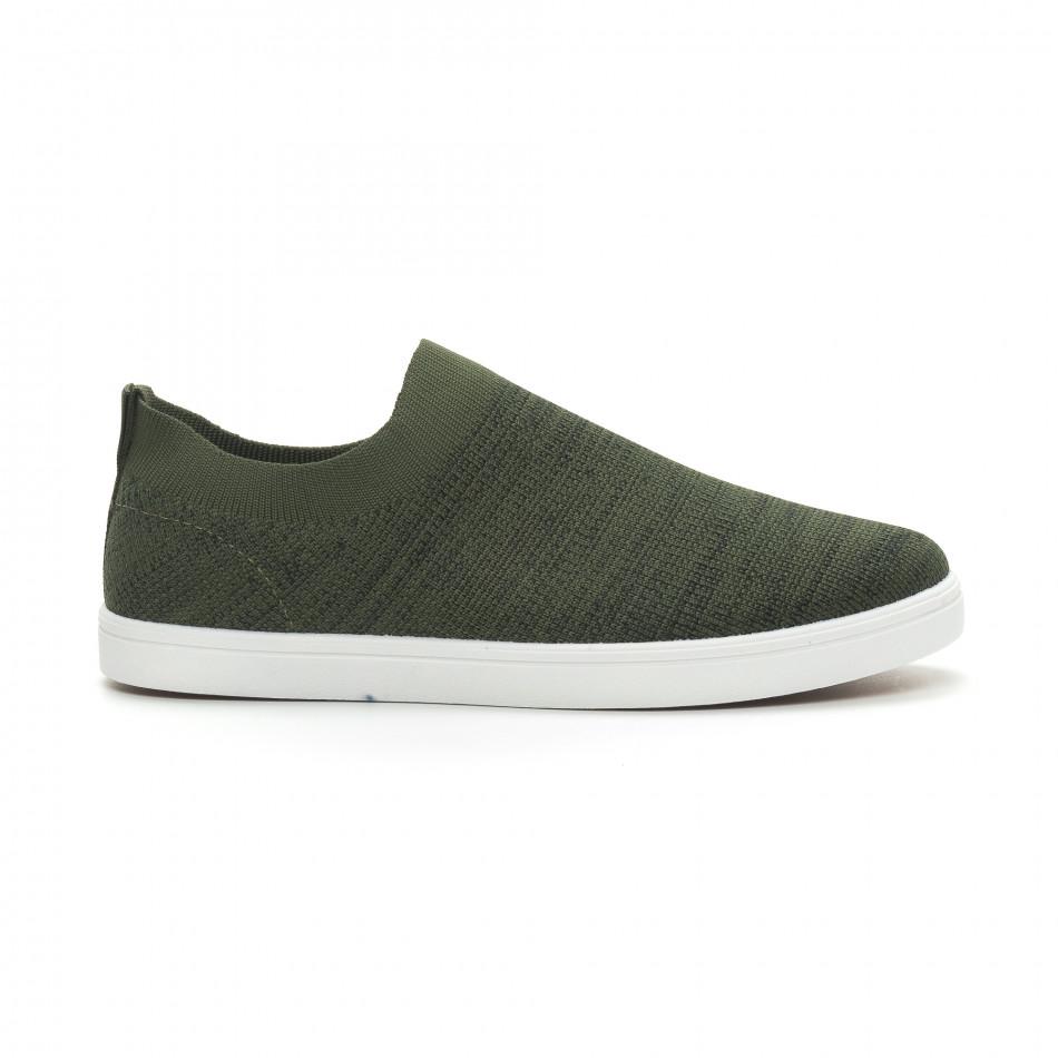 Мъжки гуменки тип чорап зелен меланж it150319-16