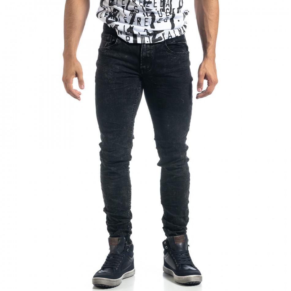 Washed мъжки черни дънки Slim fit it041019-34