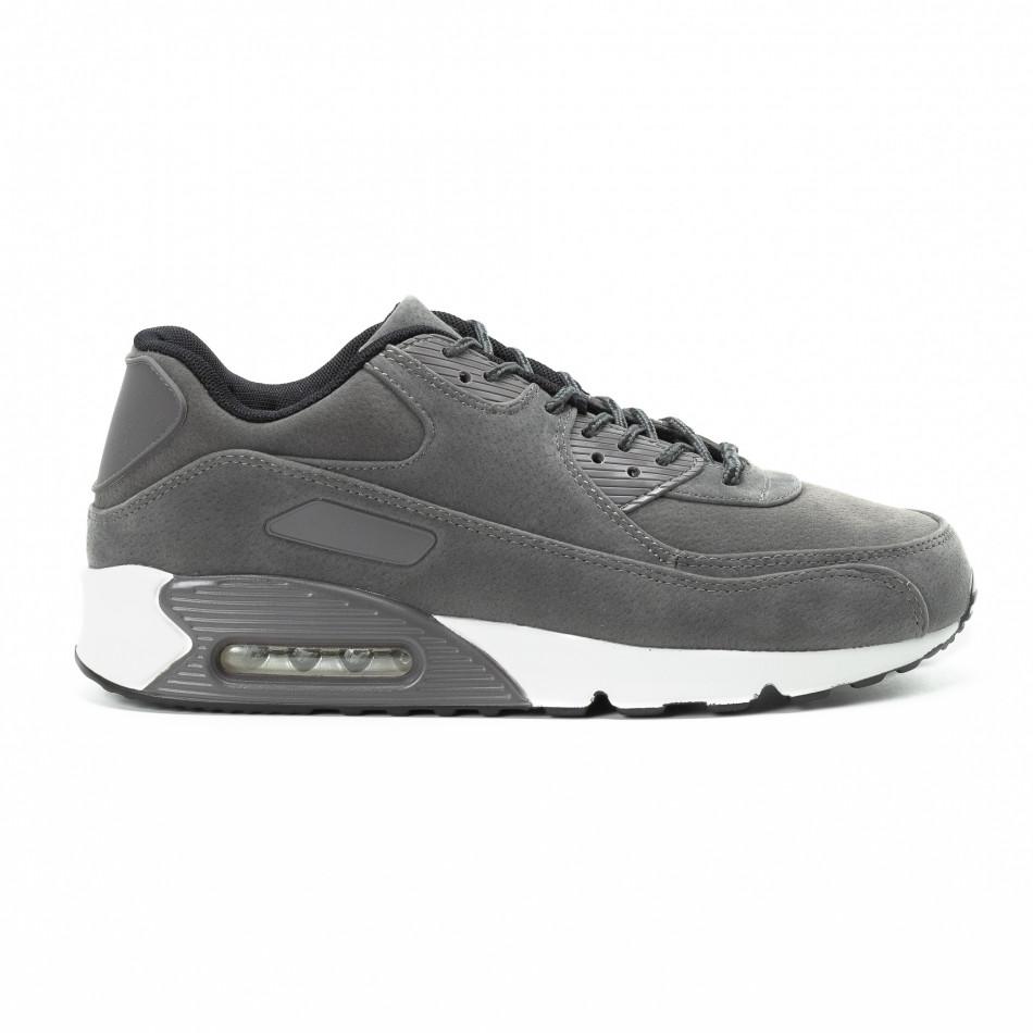 Велурени мъжки Air маратонки в сиво it140918-28