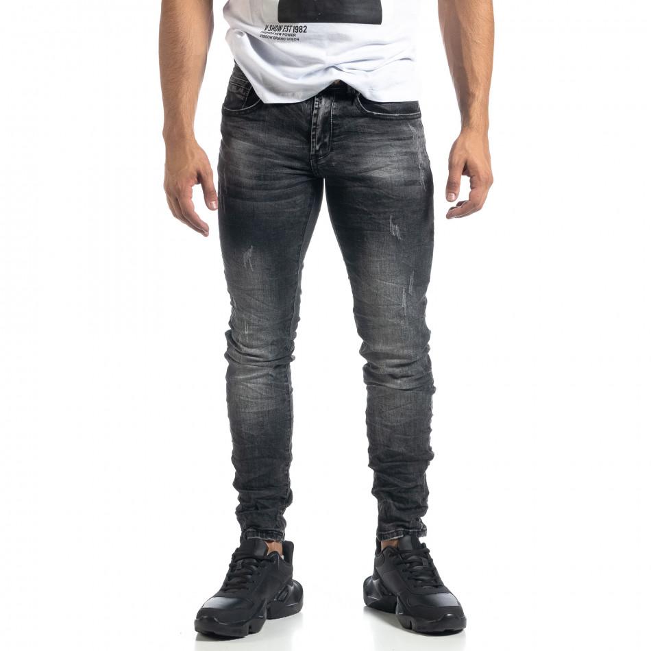Изтъркани мъжки сиви дънки с прокъсвания Slim fit it041019-28