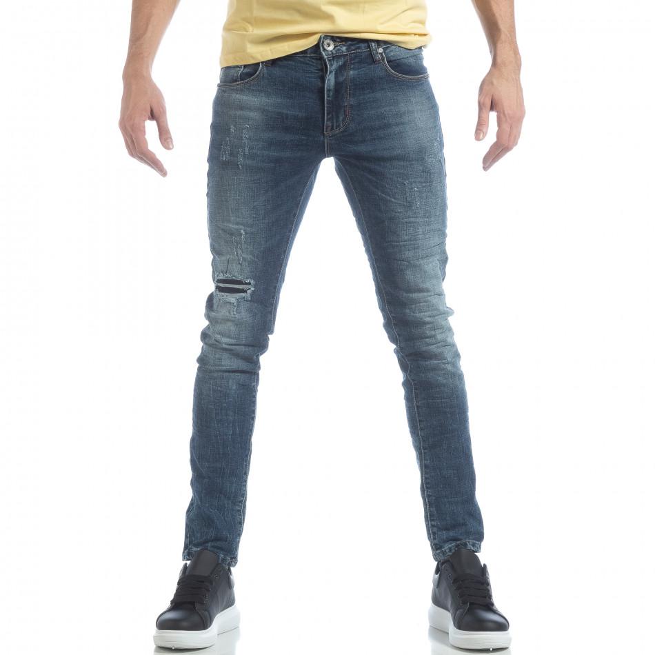Сини мъжки Washed Jeans с кръпки it040219-10