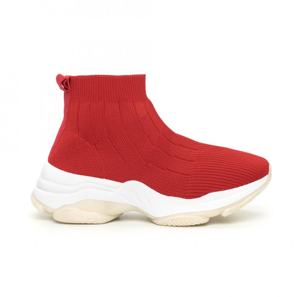 Плетени червени дамски маратонки Slip-on it130819-48