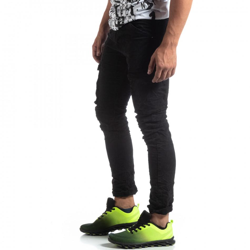 Черен мъжки карго панталон с прави крачоли it170819-15