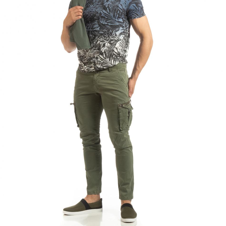 Зелен мъжки карго панталон с прави крачоли it090519-15
