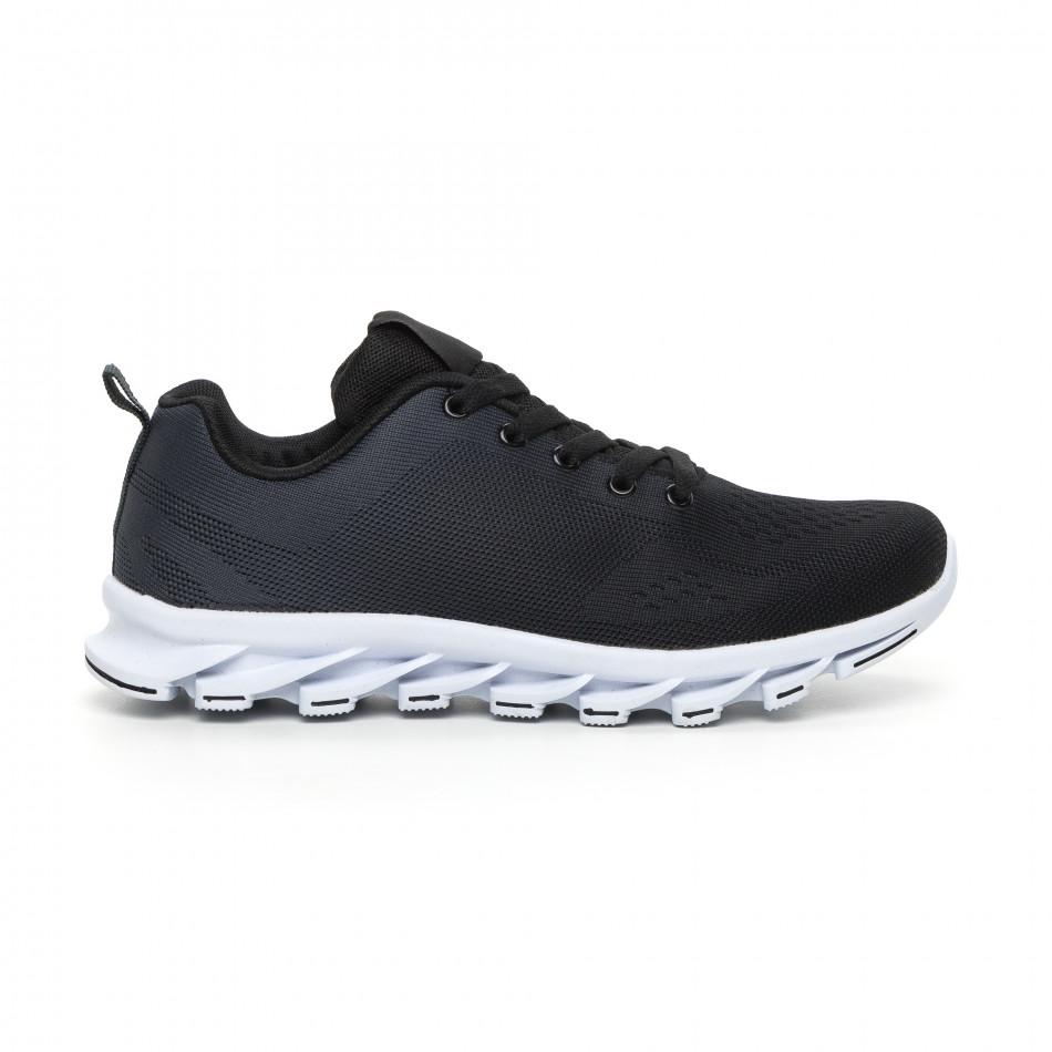 Черни мъжки маратонки с релефна подметка it130819-33