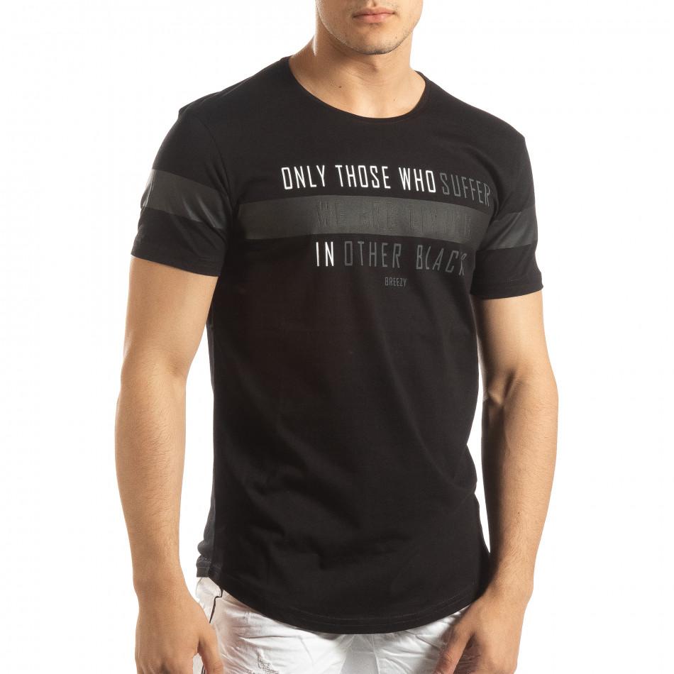 Мъжка удължена тениска в черно it150419-94