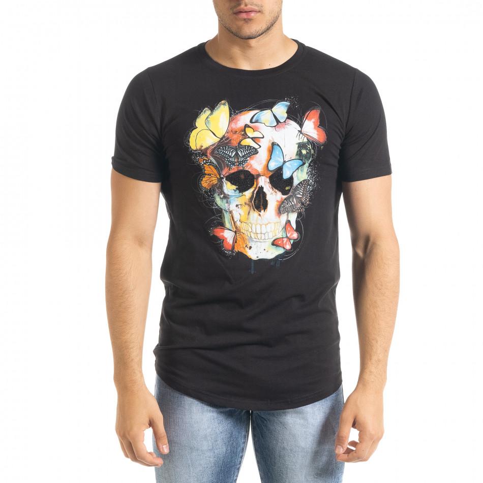 Мъжка черна тениска Romantic Skull iv080520-47