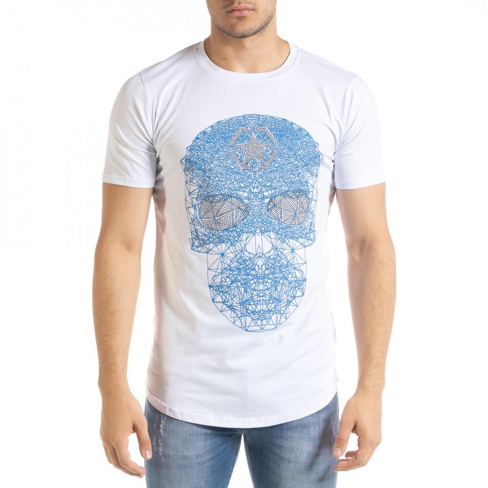 Бяла мъжка тениска с принт и камъчета iv080520-49