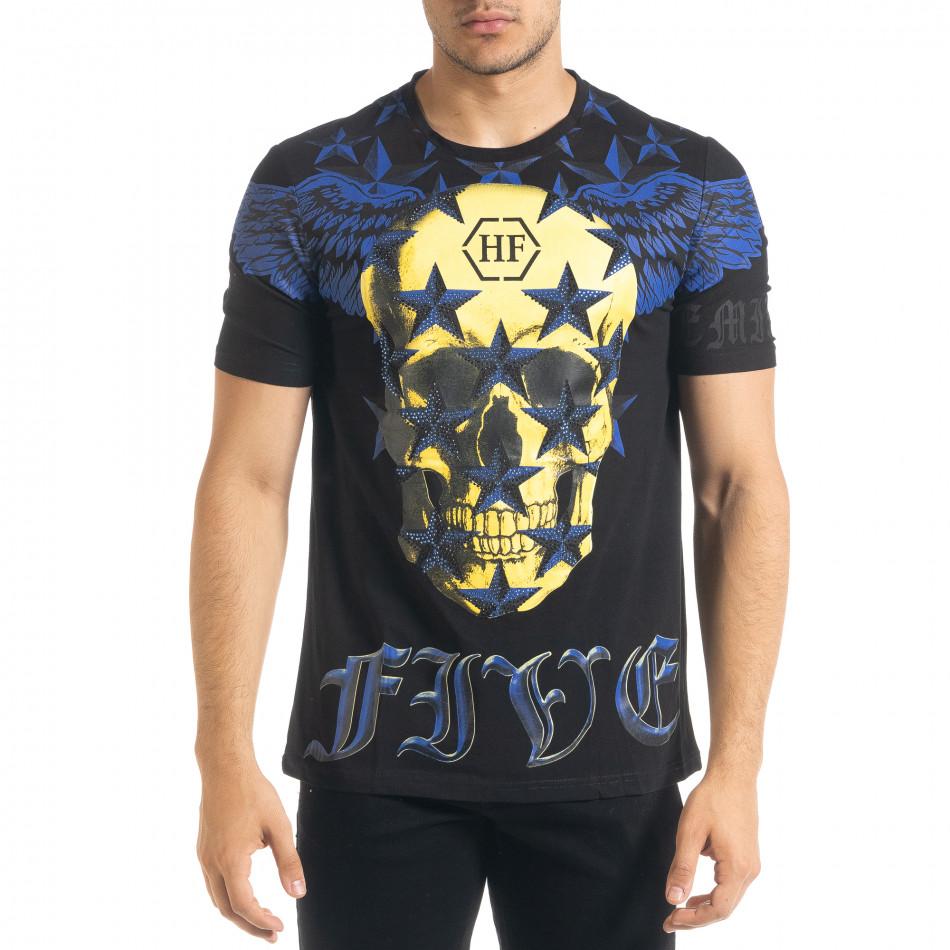 Черна мъжка тениска рокерски стил iv080520-51