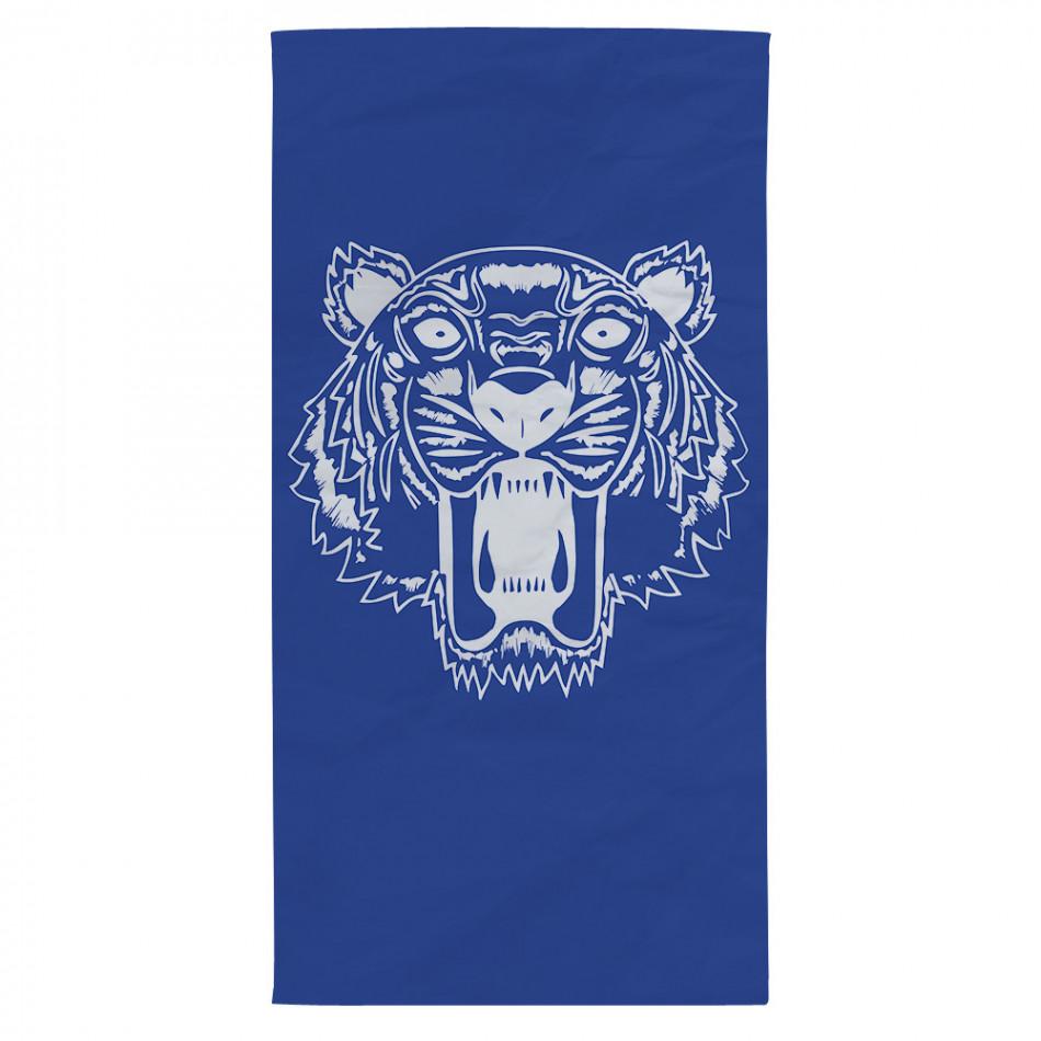 Плажна кърпа синя с принт бял тигър tsf120416-10