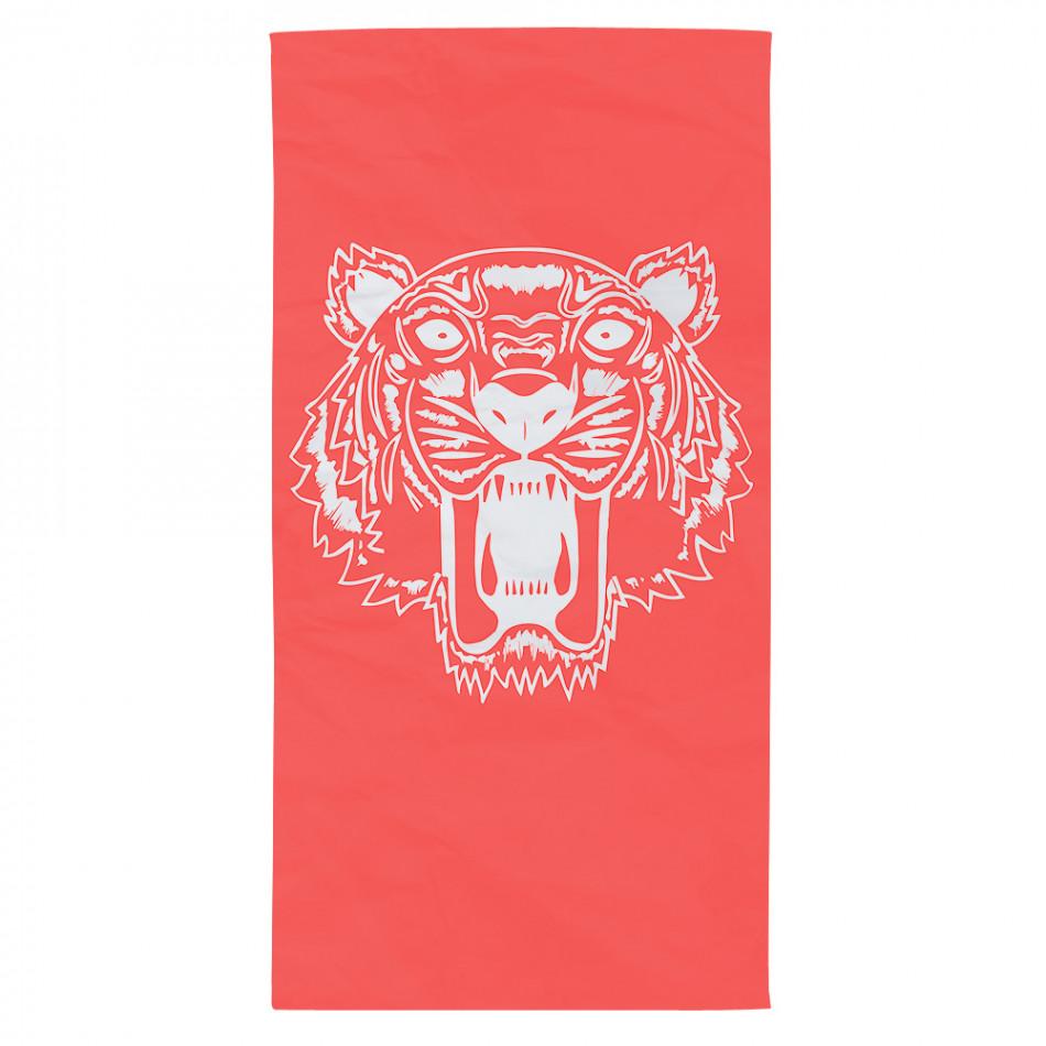 Червена плажна кърпа с щампа бял тигър tsf120416-12