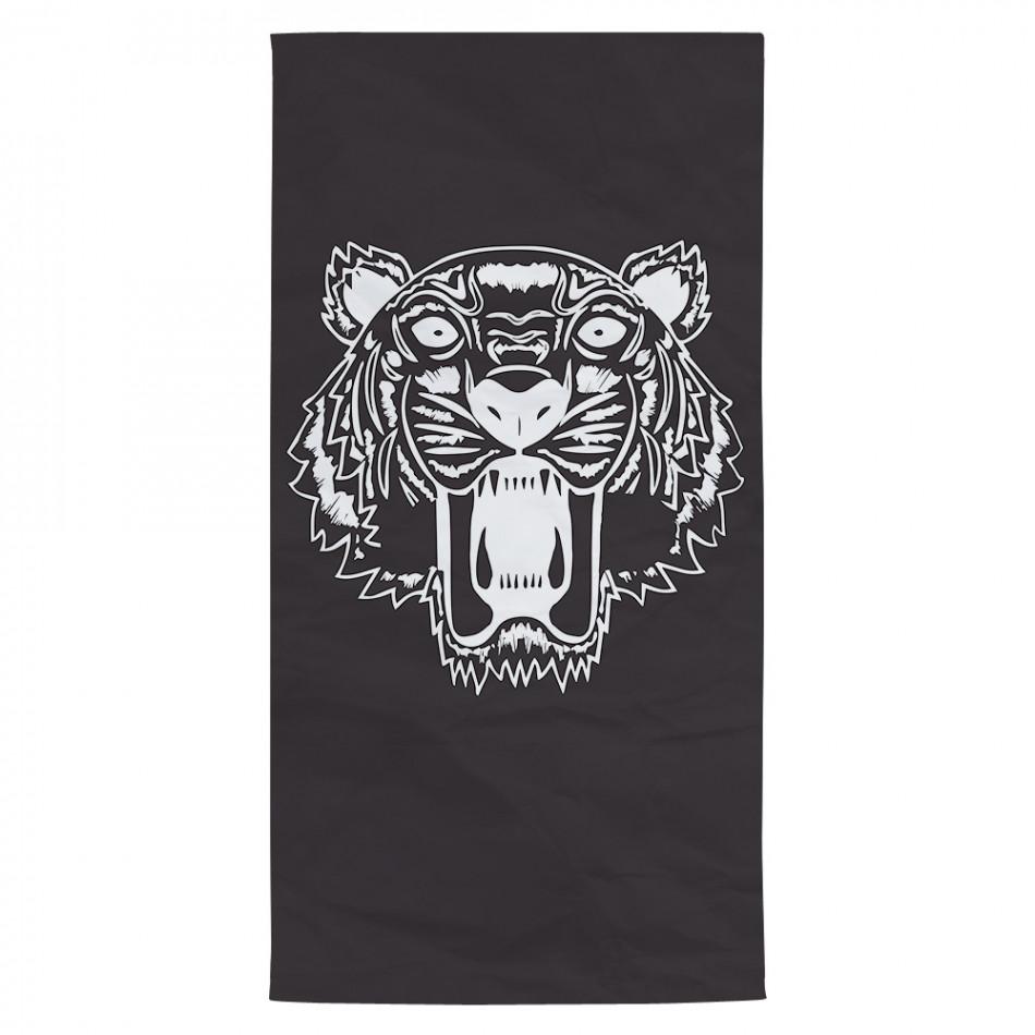 Плажна кърпа черна с принт тигър tsf120416-9