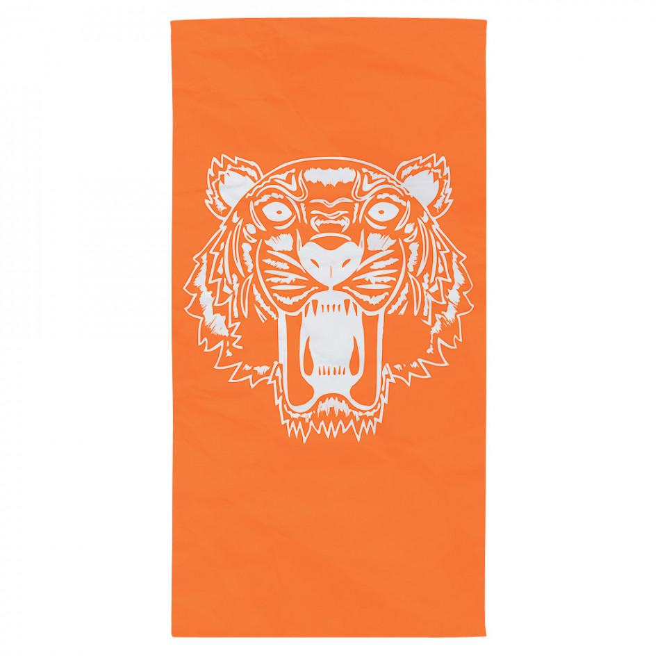Оранжева плажна кърпа с принт тигър tsf120416-11