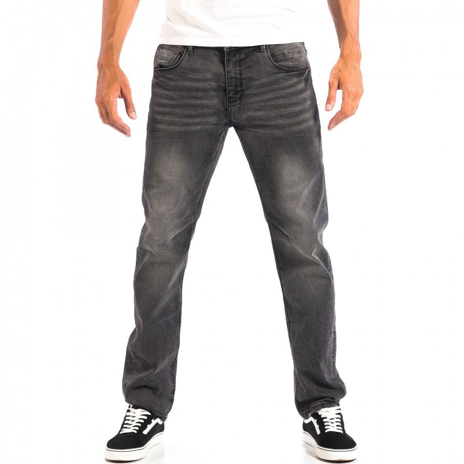 Черни мъжки дънки House Regular fit с избелял ефект  lp060818-55