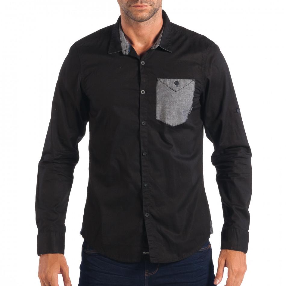 Мъжка риза с контрастен джоб CROPP в черно lp070818-119